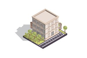 Isometric Hotel or Hostel Building