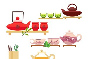 Chinese tea ceremony icons