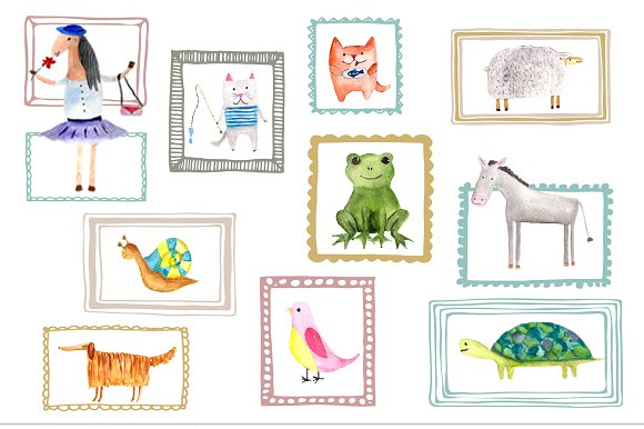 Watercolor Animal Buddies Clipart