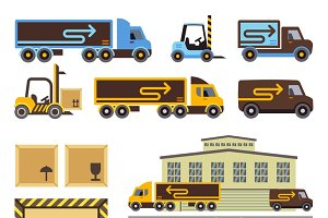 Warehouse building vector icons set