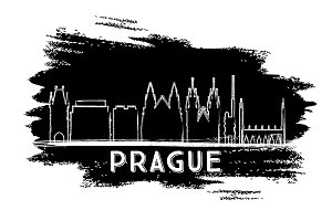 Prague Skyline Silhouette.