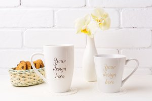 latte and cappuccino mug mockup