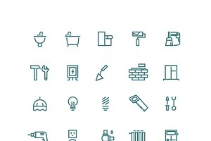 Home repair outline vector icons