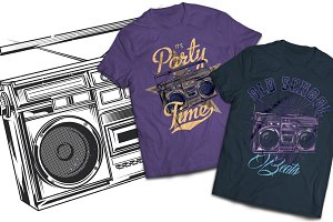 Boombox T-shirts And Poster Labels