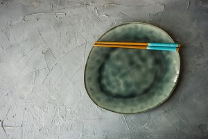 rustic table setting with chopsticks