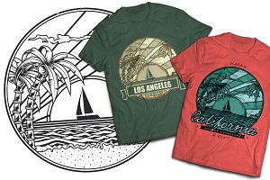 California T-shirt And Poster Labels