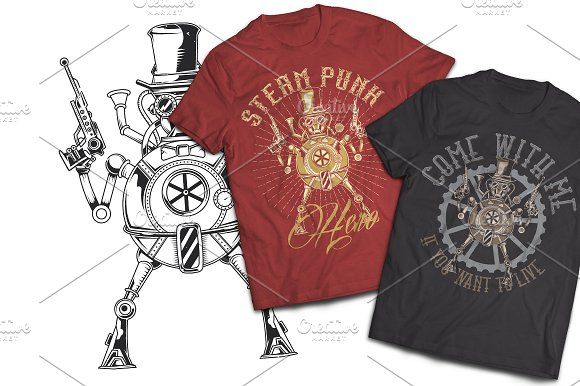 Steam Punk T-shirt And Poster Labels