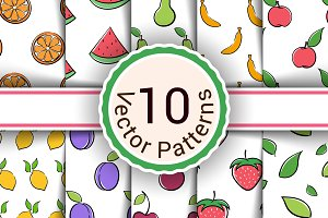 Set vector seamless fruit pattern