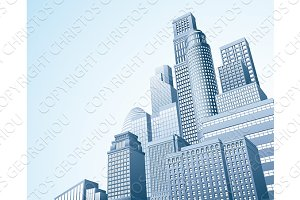 Financial district urban city scape