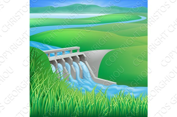 Hydro dam water power energy illustration in Illustrations