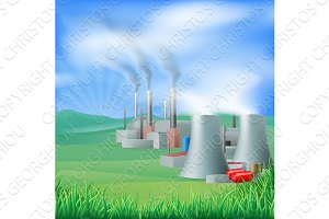 Power plant energy generation illustration