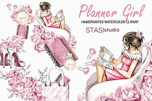 Watercolor Planner Girl Clipart