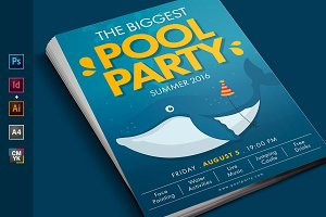 Summer Pool Water Party Flyer Poster
