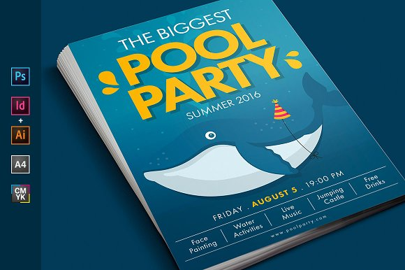 summer pool water party flyer poster flyer templates creative market