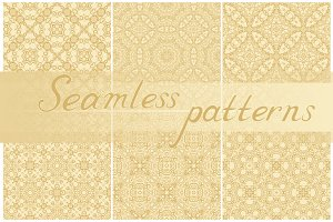 Set of seamless golden patterns