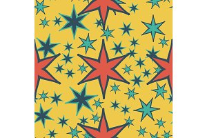 Print seamless pattern geometric simple design with stars or stylized flowers