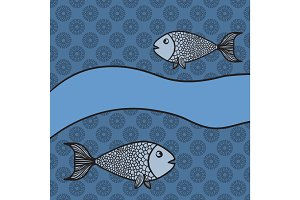 Print with two cartoon fishes and blank banner