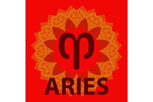 Aries. Ram. Zodiac icon with mandala print. Vector icon.