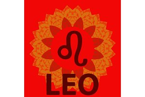 Leo. Lion. Zodiac icon with mandala print. Vector icon.