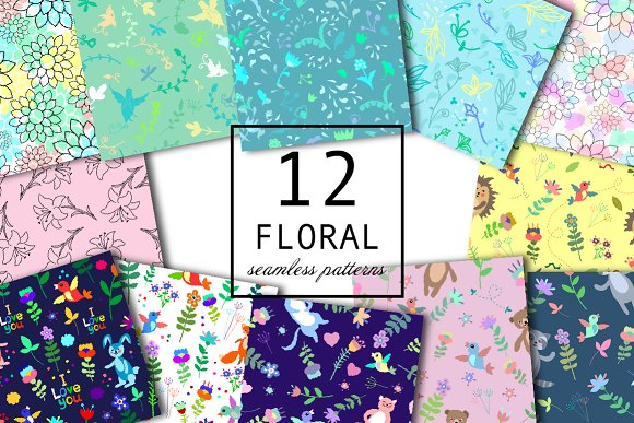12 Floral Seamless Patterns