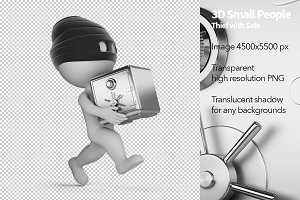 3D Small People - Thief with Safe
