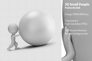 3D Small People - Pushes the Ball