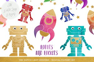Robot & Rocket Clipart Set