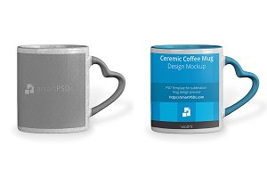 Heart Shape Handle Coffee Mug Mockup