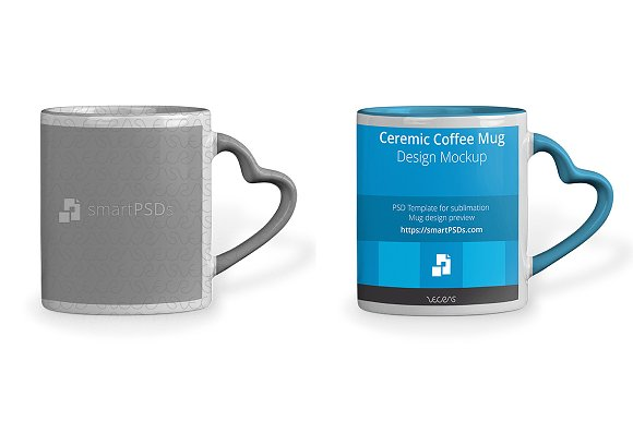 Download Heart Shape Handle Coffee Mug Mockup