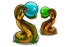 Figurines of snakes holding balls, blue and green