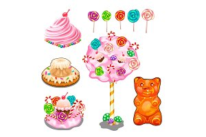 Lollipops, cakes, cake, candies and other sweets