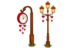 Street clock and lantern with hearts
