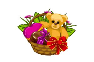 Romantic gift basket with sweets and a toys