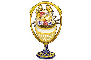 Golden vase with precious flowers