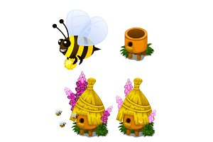 Bee carrying honey and bee hive in cartoon style