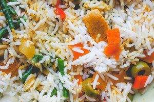 Curry rice, faded vintage look