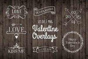 Valentine Photo Overlay Set PNG