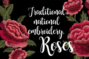 Traditional folk embroidery. Roses