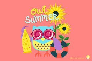 Digital Clipart  Owl Summer