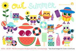 Owl Summer Digital Clipart
