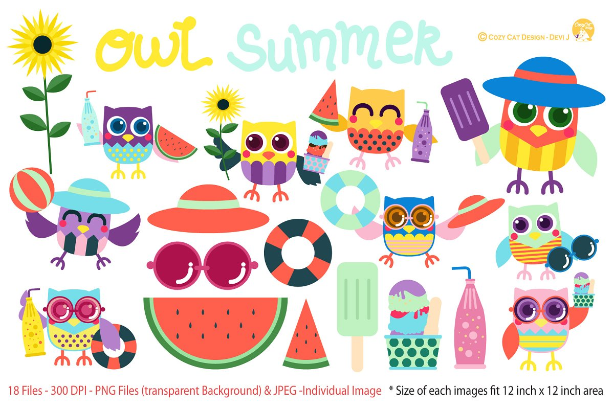 Owl summer. Digital clipart illustrations creative