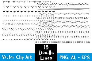 18 Hand Drawn Doodle Lines Set #2
