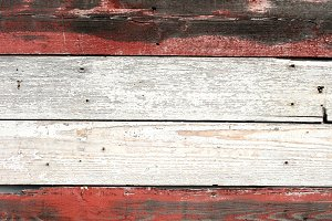 Distressed Red and White Wood