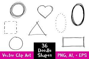 36 Doodle Basic Shapes Clipart