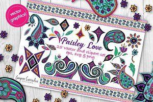 Paisley Love vector clipart set