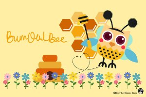 Digital Clipart  BumbOwlBee