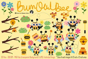 BumbOwlBee Digital Clipart