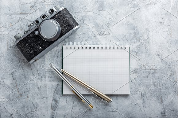 Notebook With Film Camera