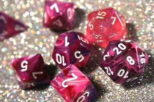 Pink and Purple D20 Glitter