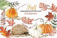 Watercolor Pumpkin Hedgehog Clipart